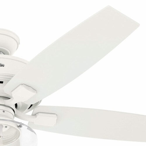 Hunter Bennett 52 Inch Indoor LED Ceiling Fan with Remote Control, Matte White Perspective: top