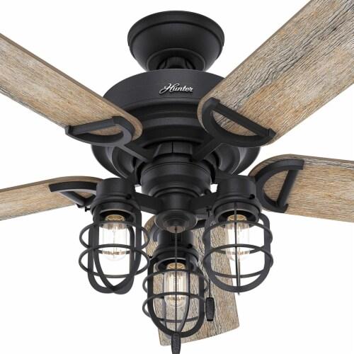 Hunter 52 Inch Starklake Indoor/Outdoor Ceiling Fan w/ 3 Lights, Natural Iron Perspective: top