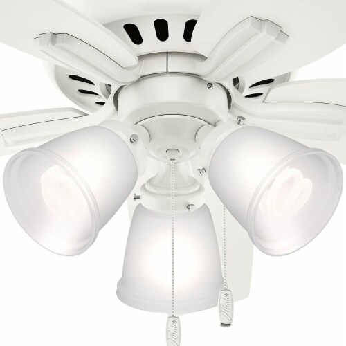 Hunter Fan Company Newsome Low Profile 42 Inch 5 Blade Ceiling Fan, Fresh White Perspective: top