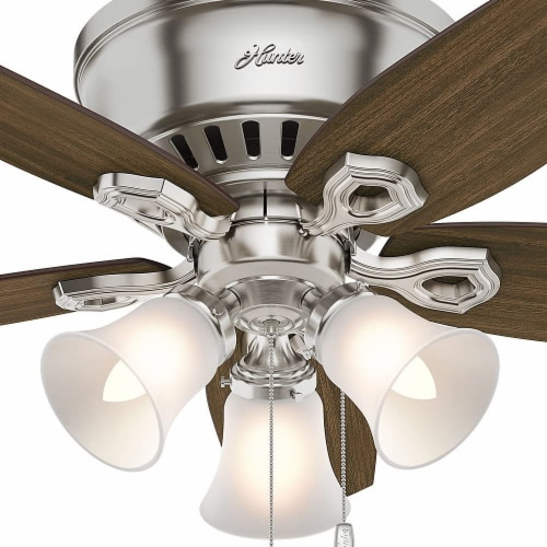 """Hunter Builder 42"""" Quiet Low Profile Ceiling Fan with LED Lights, Brushed Nickel Perspective: top"""
