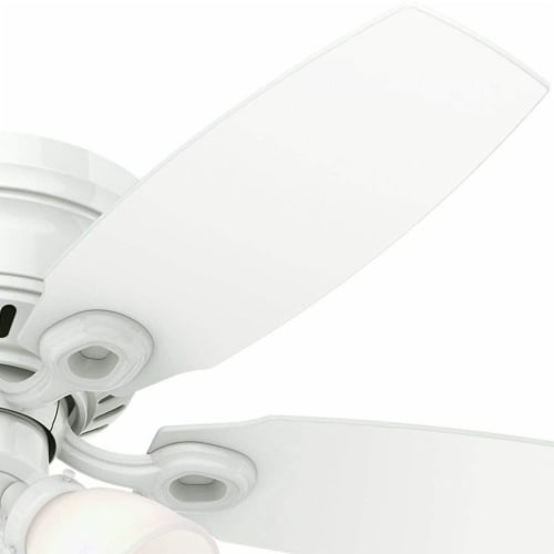 """Hunter Hatherton 46"""" Low Profile Ceiling Fan w/ LED Lights and Pull Chain, White Perspective: top"""