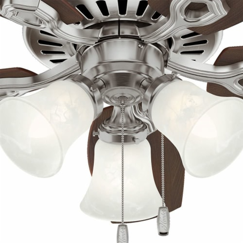 Hunter 42 Inch Traditional Builder Ceiling Fan with 3 LED Lights, Brushed Nickel Perspective: top