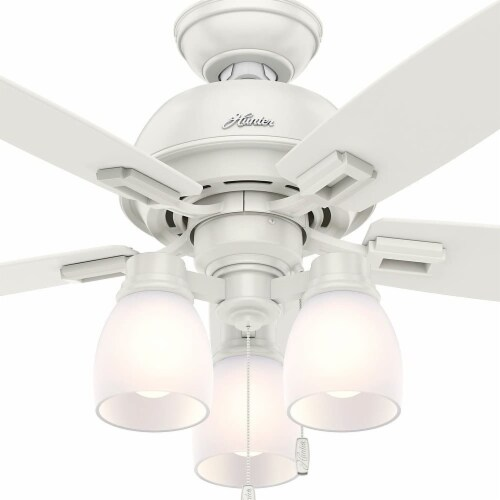 """Hunter Donegan 44"""" Home Ceiling Fan with LED Light Kit and Pull Chains, White Perspective: top"""