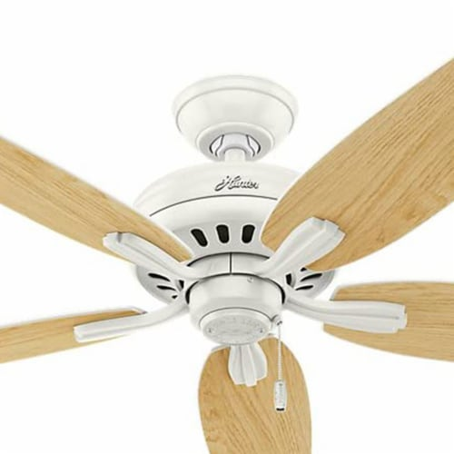 Hunter Fan 53319 Company Newsome 52 Inch Quiet Indoor Ceiling Fan, Fresh White Perspective: top