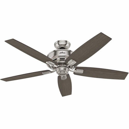 """Hunter Bennett 52"""" Quiet Ceiling Fan with LED Light and Remote Control, Silver Perspective: top"""