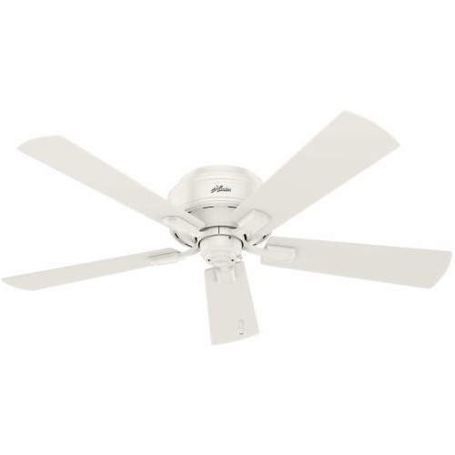 """Hunter Crestfield 52"""" Low Profile Ceiling Fan w/ LED Light and Pull Chain, White Perspective: top"""
