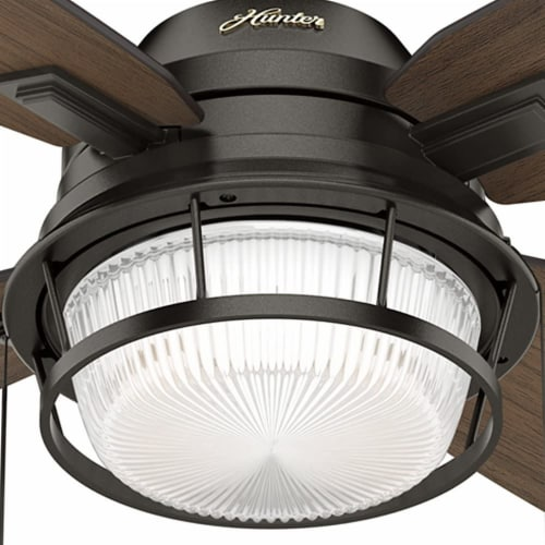 Hunter Ocala 52 Inch Indoor/Outdoor Ceiling Fan w/ LED Light, Noble Bronze Perspective: top