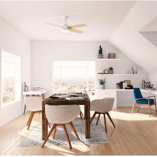 Hunter Fan Company 59217 Dempsey 52 Inch Modern Home Ceiling Fan w/ Light, White Perspective: top