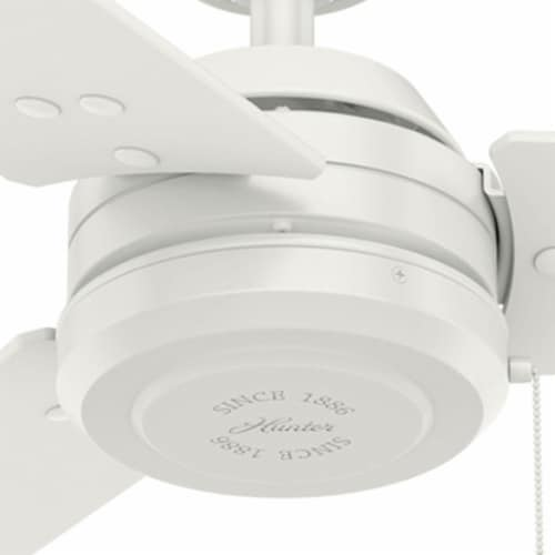 Hunter Cassius 52 Inch Indoor and Outdoor Ceiling Fan w/ Pull Chain, Fresh White Perspective: top