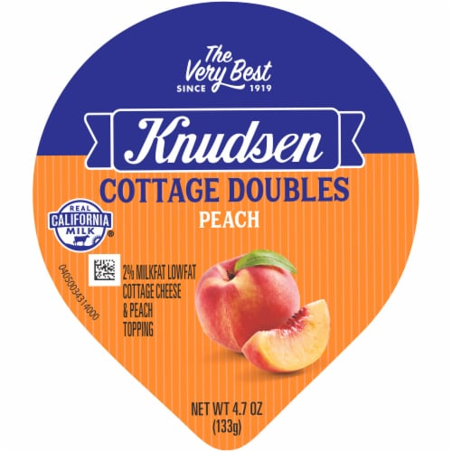 Knudsen Cottage Doubles Low Fat Cottage Cheese & Peach Topping Perspective: top