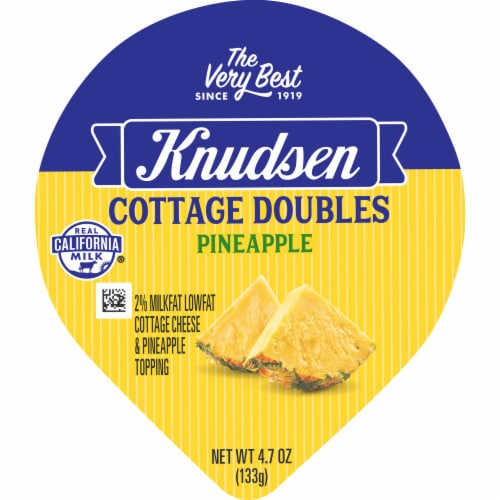 Knudsen Cottage Doubles Low Fat Cottage Cheese & Pineapple Topping Perspective: top