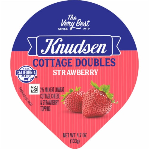 Knudsen Cottage Doubles Strawberry Topping & Low Fat Cottage Cheese Cup Perspective: top