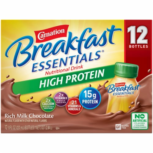 Carnation Breakfast Essentials Chocolate High Protein Complete Nutritional Drink Perspective: top