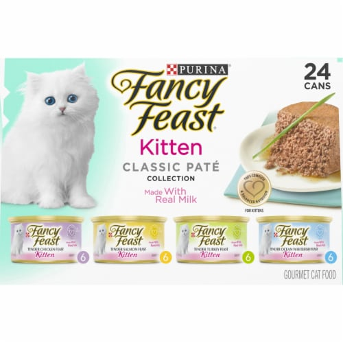 Fancy Feast Classic Pate Collection Wet Kitten Food Variety Pack Perspective: top