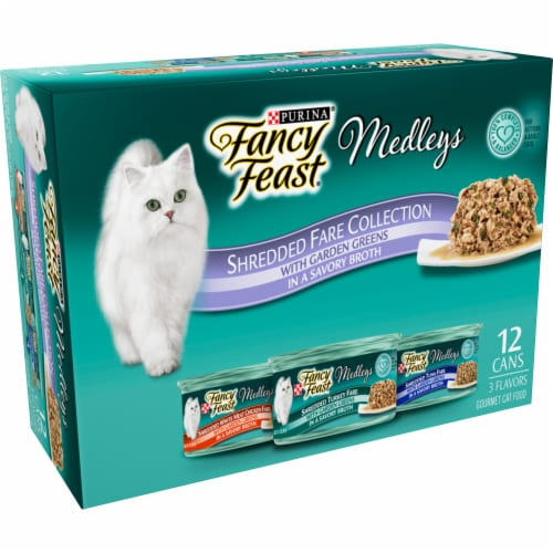 Fancy Feast Medleys Shredded Fare Collection Wet Cat Food Variety Pack Perspective: top