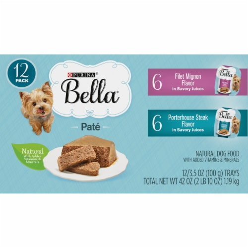 Bella Filet Mignon & Porterhouse Steak Pate in Juices Small Breed Wet Adult Dog Food Variety Pack Perspective: top