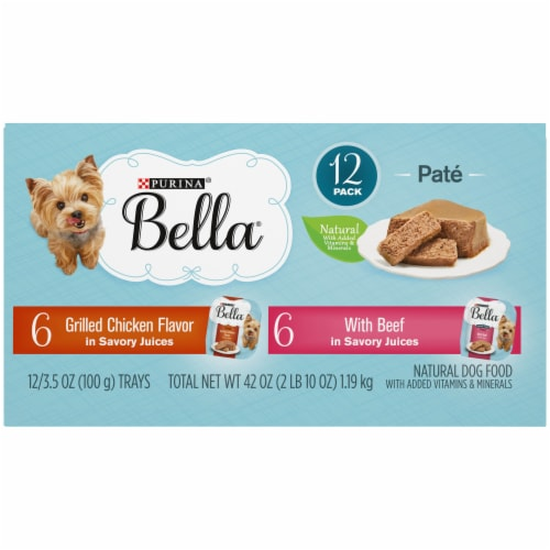 Bella Grilled Chicken & Beef in Juices Pate Small Breed Wet Dog Food Variety Pack Perspective: top