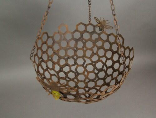 Set of 2 Hanging Honey Bee Metal Baskets Indoor Outdoor Decor Flower Fruit Holders Perspective: top
