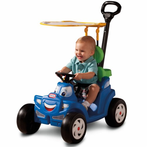 Little Tikes Deluxe 2 in 1 Cozy Roadster Toddler Kids Push Car Ride On Toy, Blue Perspective: top