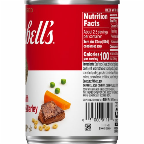 Campbell's Beef with Vegetables & Barley Condensed Soup Perspective: top