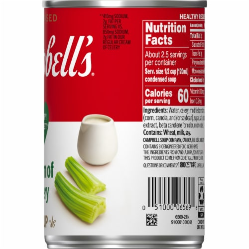 Campbell's Healthy Request Cream of Celery Condensed Soup Perspective: top