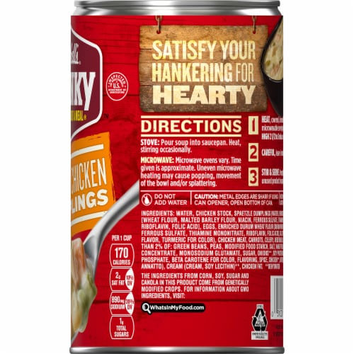 Campbell's Chunky Creamy Chicken & Dumpling Soup Perspective: top