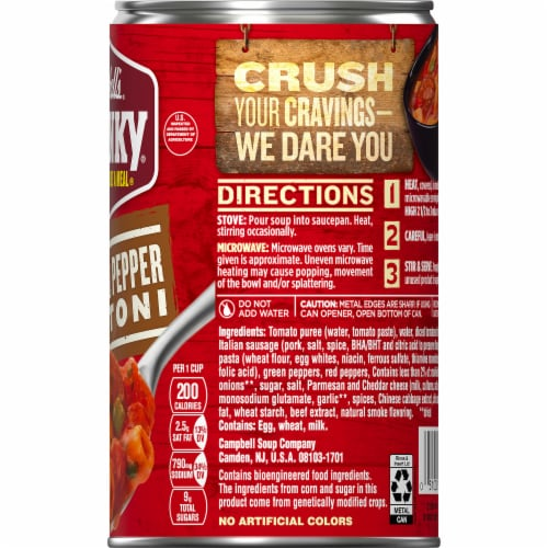 Campbell's Chunky Sausage & Pepper Rigatoni Soup Perspective: top