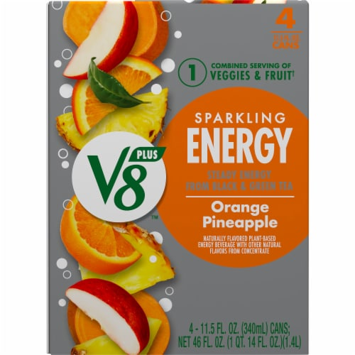 V8 Orange Pineapple Sparkling Juice Drink Perspective: top