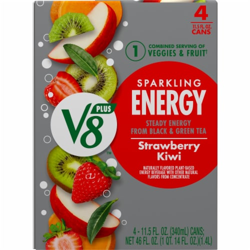 V8 Strawberry Kiwi +EnergyPlant-Based Energy Beverage Perspective: top