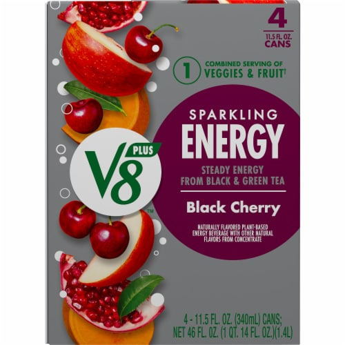 V8 +Energy Black Cherry Sparkling Energy Drink Perspective: top