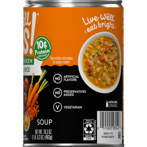 Campbell's® Well Yes!® Plant-Based Chick'n with Rice Soup Perspective: top