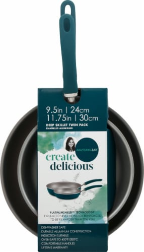 Rachael Ray Create Delicious Aluminum Nonstick Frying Pan Set - Teal Perspective: top