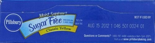 Pillsbury Sugar Free Classic Yellow Cake Mix Perspective: top