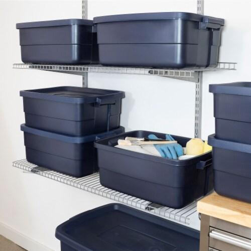 Rubbermaid 10 Gallon Stackable Storage Container, Dark Indigo Metallic (8 Pack) Perspective: top