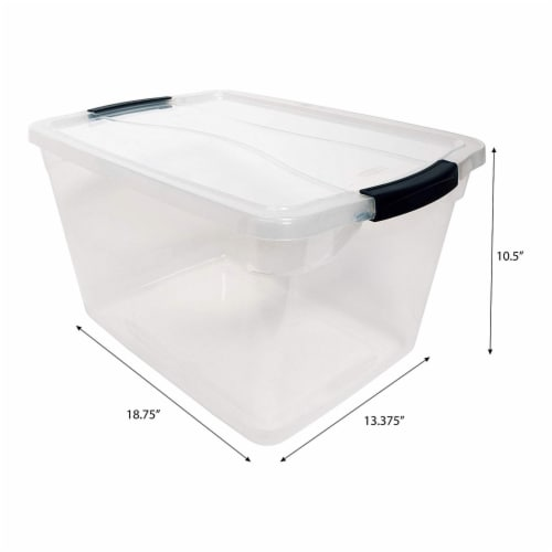 Rubbermaid Cleverstore 30 Quart Plastic Storage Tote Container with Lid (6 Pack) Perspective: top