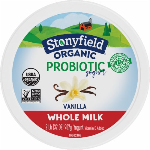Stonyfield® Organic Vanilla Probiotic Whole Milk Yogurt Perspective: top
