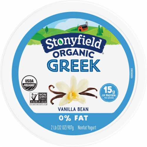 Stonyfield® Organic Vanilla Bean Nonfat Greek Yogurt Perspective: top