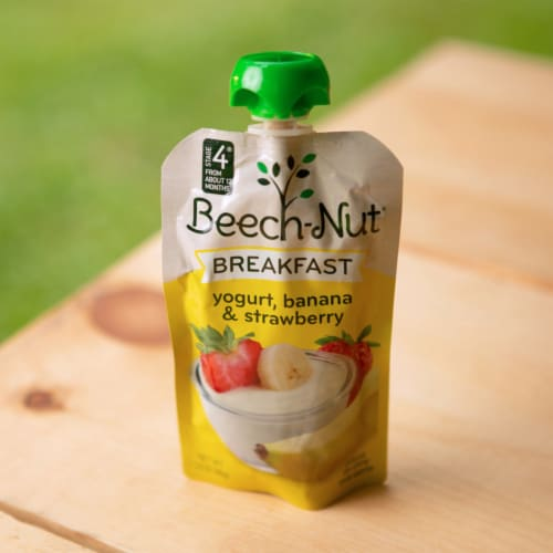 Beech-Nut Breakfast Yogurt Banana & Strawberry Blend Stage 4 Baby Food Perspective: top