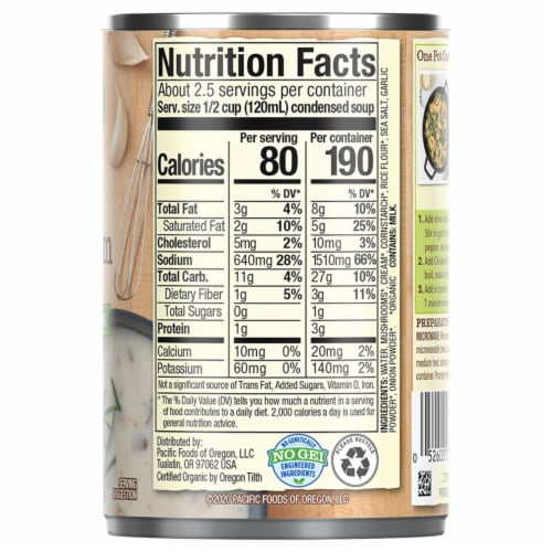 Pacific Foods® Organic Cream of Mushroom Condensed Soup Perspective: top