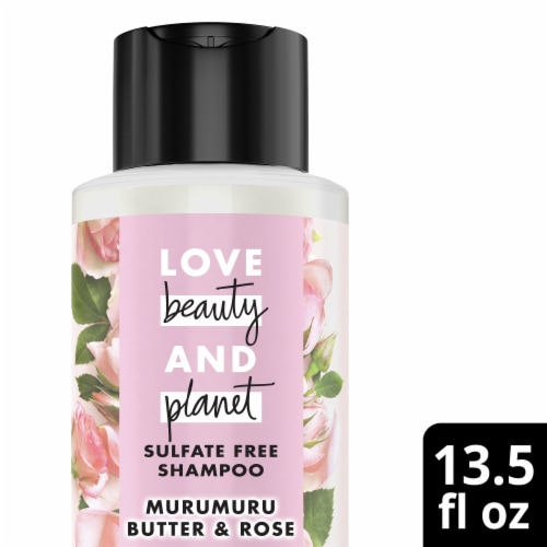 Love Beauty and Planet Sulfate-Free Murumuru Butter & Rose Color-Treated Hair Vegan Shampoo Perspective: top