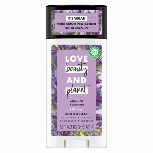 Love Beauty and Planet Aluminum-Free Argan Oil & Lavender Vegan Deodorant Stick Perspective: top