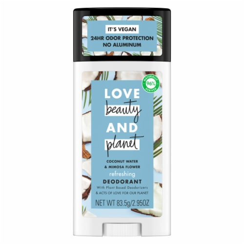 Love Beauty and Planet Aluminum-Free Coconut Water & Mimosa Flower Vegan Deodorant Stick Perspective: top