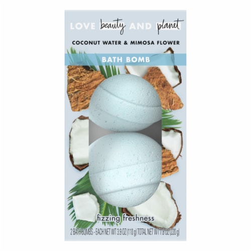 Love Beauty & Planet Fizzing Freshness Coconut Water & Mimosa Flower Bath Bomb Perspective: top