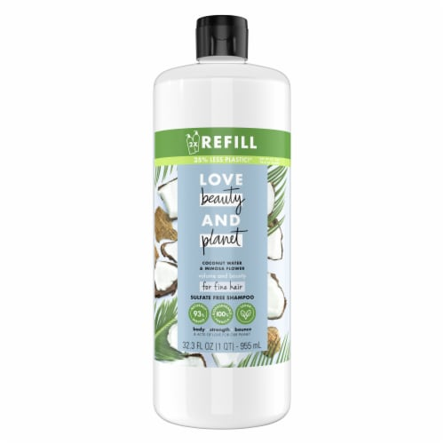 Love Beauty & Planet Sulfate-Free Coconut Water & Mimosa Flower Shampoo Perspective: top