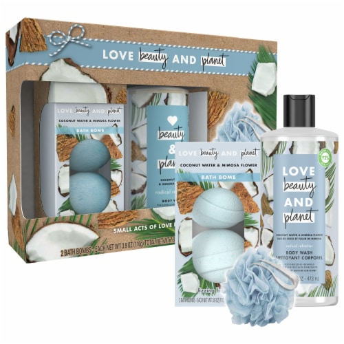 Love Beauty and Planet Coconut Water & Mimosa Flower Body Wash and Bath Bombs Perspective: top
