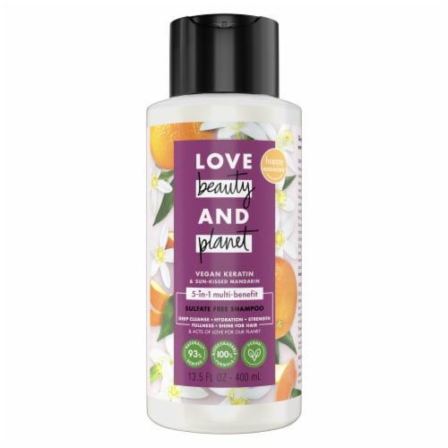 Love Beauty and Planet Silicone-Free Nourishing Sun-Kissed Mandarin 5-in-1 Vegan Shampoo with Biotin Perspective: top