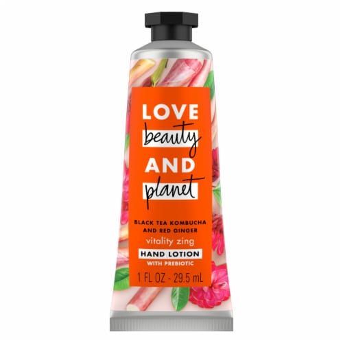 Love Beauty and Planet Black Tea Kombucha and Red Ginger Hand Lotion Perspective: top