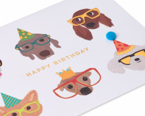 Papyrus Birthday Card (Dogs with Glasses) Perspective: top