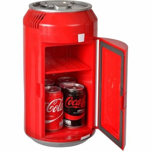 Koolatron 8 Can Official Coca-Cola AC/DC Electric Mini Fridge Beverage Cooler Perspective: top