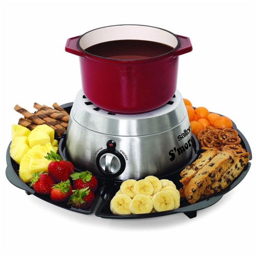 Salton SP1717 Indoor Electric S'more and Fondue Maker with 4 Roasting Forks Perspective: top